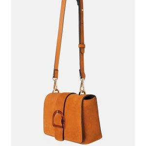 New Zara orange suede crossbody handbag strap